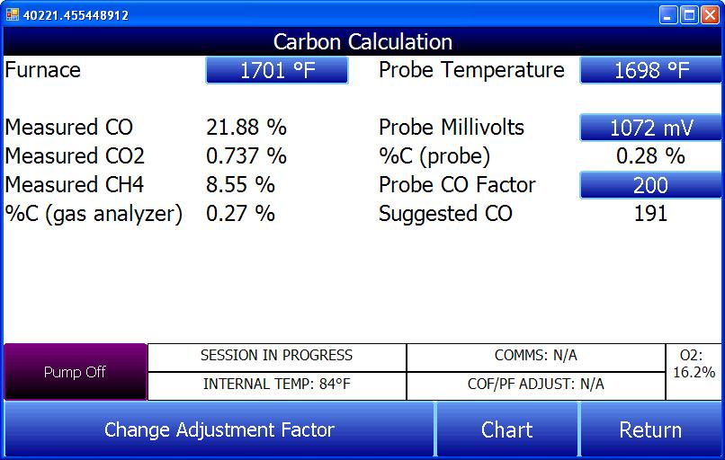 Additionally, the carbon percentage measured by the PGA3510 can be used as a comparison to the carbon percentage measured by a furnace s oxygen probe.