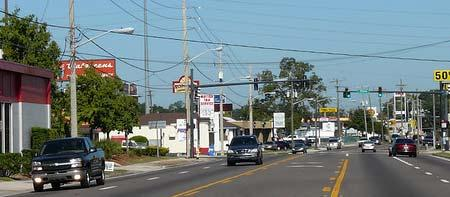 Wide sidewalks can be accommodated, as well as a 27-foot-wide median. Predominant/Functional Width - 100 feet.