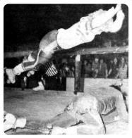 The great ones could even do a jump block and come crashing down on the opponent's neck or collarbone. The most crowd-exciting block was when an opposing skater knocked up and over the railing.