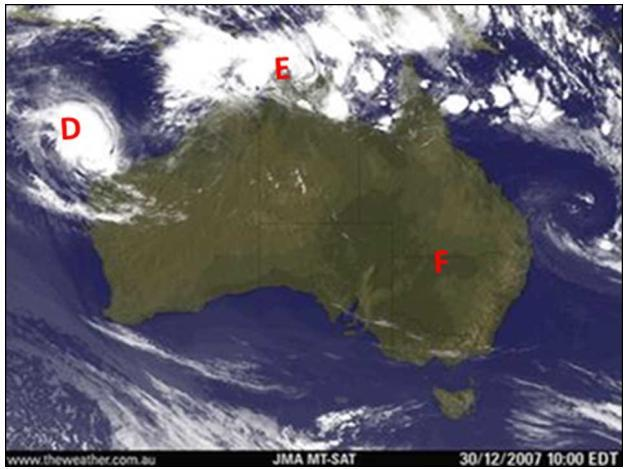 Australia Satellite Photo Figure 1B 1.1 Locate the area marked K. Is K situated in the centre of a low pressure cell or a high pressure cell? 1.2 Comment on and explain the significance of the isobar spacing at L and N.