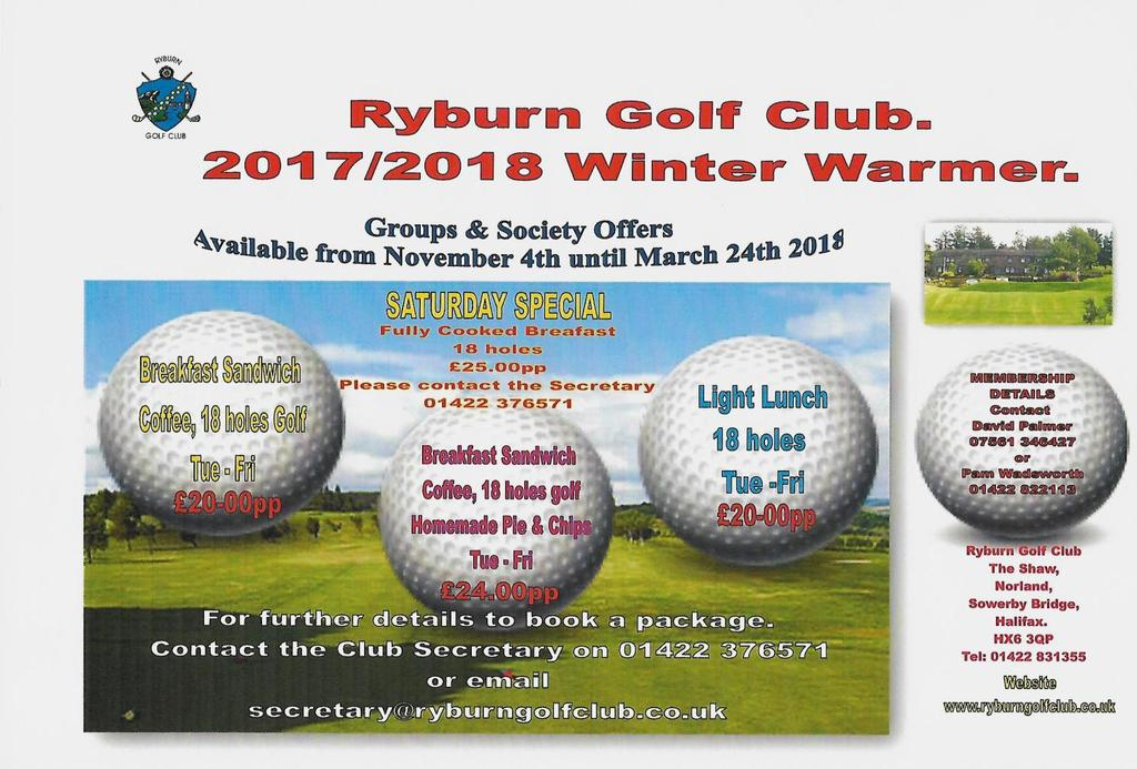 WINTER WARMER 2017/2018 For further details including booking form contact RGC Secretary on the following.