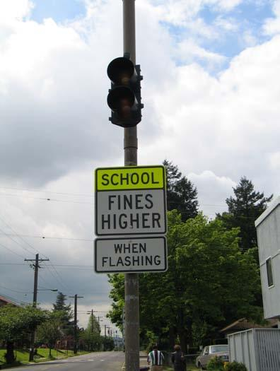Detail of ASE equipment In addition to the normal school speed-limit signage located at the
