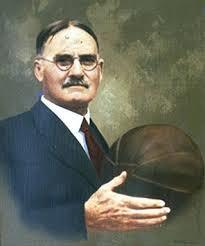 1891: Dr James Naismith (1861-1939) invented the game in Springfield Massachusetts, U.S.A. In the beginning an actual football was used and two peach baskets for goals.