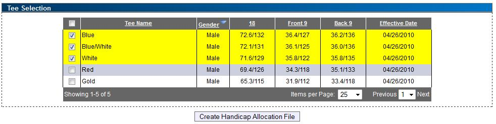 In the Filter Selections box, chose the date range of scores to be used, the golf course desired and select the appropriate gender for tees to perform the stroke allocation computation.