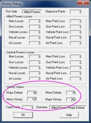In the Menu Bar along the top of the screen, select the Info selection and scroll down and select Victory This will bring up the Victory Dialog box which shows how many points the first side must