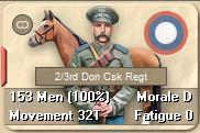 "Left click on one of your Cossack unit's portraits and you should now see a red tab appear to the left side of the ""unit card""."
