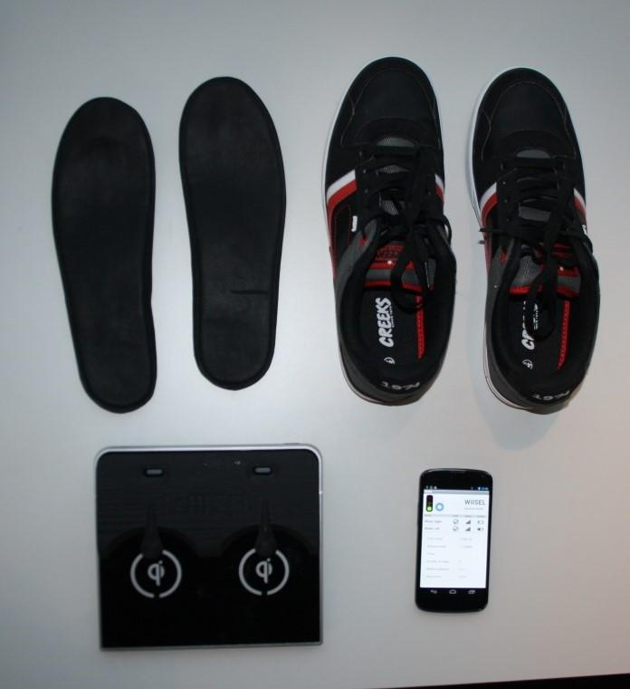 The solution 14 pressure sensors/insole 1 accelerometer/insole 1