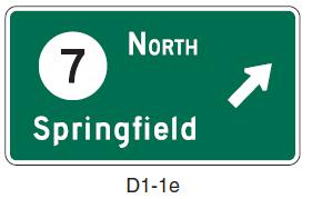 If one or more shields and their cardinal directions are added to a Destination sign, the sign may be laid out as shown in Figure 6, with the relevant shields and cardinal directions displayed