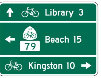 Figure 5 Example of a Destination Distance Sign from the MUTCD If one were to apply this option to the D1-3c for bicycles the result might