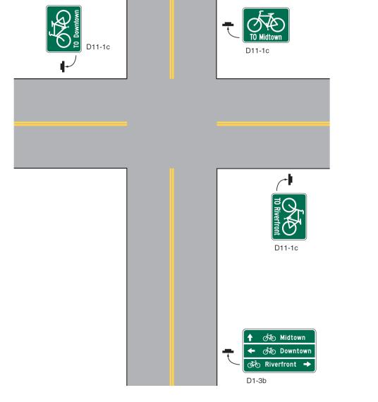 Within the discussion of pictographs for use on signs, it includes the guidance text The pictograph or legend should incorporate a bicycle symbol or word message that clearly identifies the route as