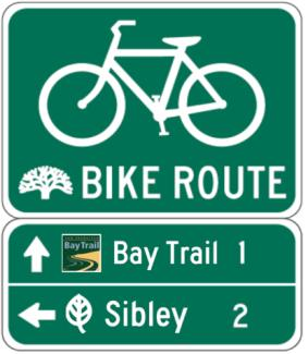 regional and State bike route signs. The California DOT has allowed for the placement of supplemental plaques providing route names under the D11 series of bike signs. Local U.S. Guidance Most communities have not promulgated their own bicycle route design guidance.
