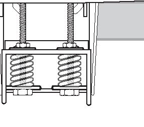 9. Position rim assembly (1) 90 degrees to back bracket () as shown. Place inner-bracket (14) over both carriage bolts (2) followed by springs (7), washers (8) and special nuts (26).