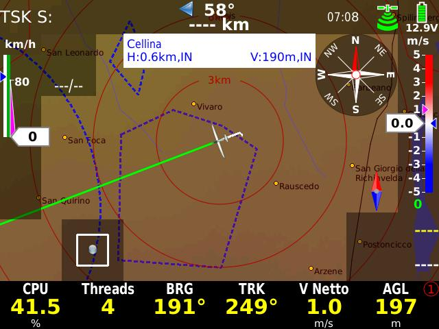 The wind calculation with the compass works exclusively in straight flight. The calculation is automatically started when the following conditions are fulfilled for at least 5 sec.