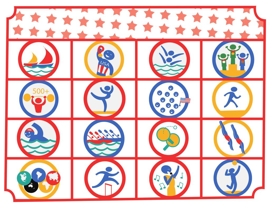 SUMMER OLYMPICS BINGO! Cross off each event as you see it! See if you can get 4 in a row BINGO! SAILING RACE USA WINS A GOLD!