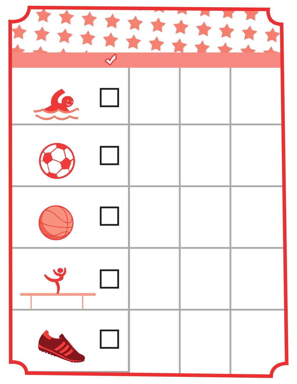 FAMILY OLYMPICS CHECKLIST Here's a checklist of fun outdoor activities your whole family can do this summer see how many you can do before the Olympics are over.