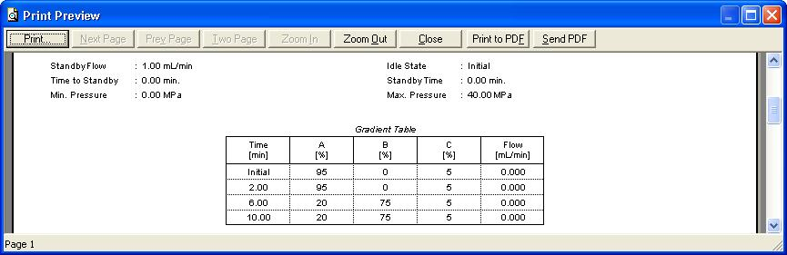 5 Report Setup 5 Report Setup Fig 11: Shimadzu LC-10/20 Pump report preview All general LC settings (such as the Gradient Table from the Method Setup