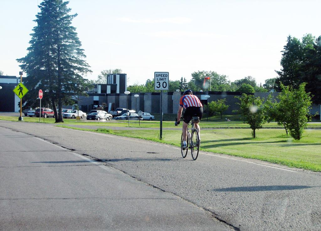 Chapter 3: General Design Factors 59 Establishing and enforcing vehicle traffic speed limits to minimize speed differentials between bicycles and motor vehicles and by using traffic-calming