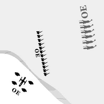 Artillery Firing from High Ground: Artillery units may fire over the heads of intervening units to hit a target beyond.
