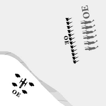 Should an intervening unit ever be within 12 inches of an intended target along the path of the artillery s fire, artillery on a hill cannot see the target. Line of sight is blocked.