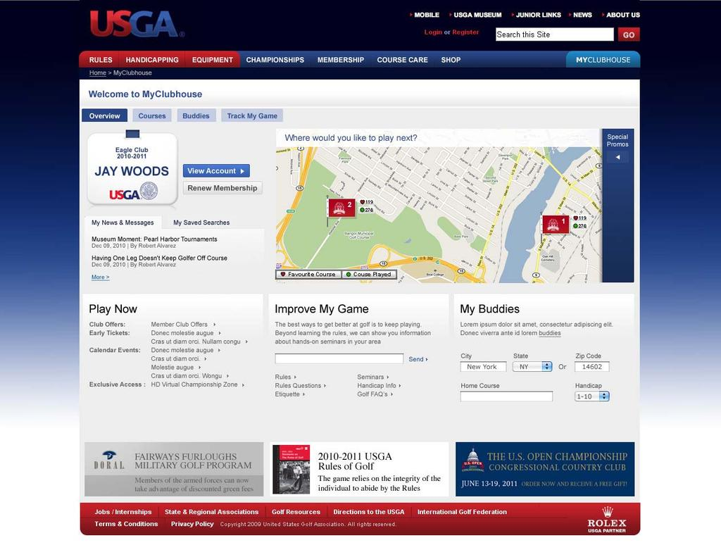 The USGA Online Clubhouse My Golf House will opportunity USGA Members and fans