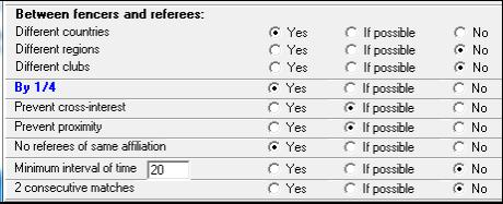 "Set the parameters as follows: However, if you want to have possibly a referee on two 1/4, choose no for ""By 1/4."" Click on the ""Allocation of referees 1"" button."