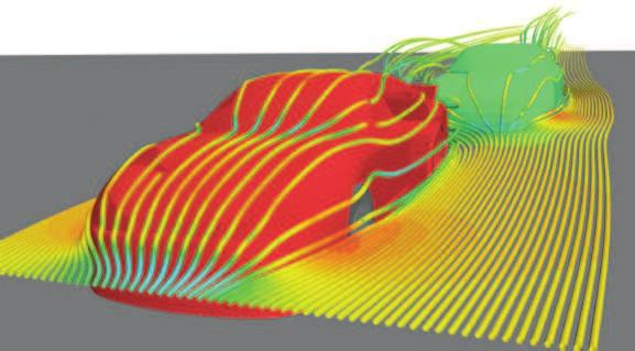 (a) (b) Figure 1: CFD studies aerodynamics in sports. In (a), CFD research predicts the fight of a soccer ball.