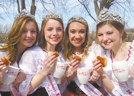 (from left) Queen beyond, they relize tht Megn Rbenberg, First Princess Ashlyn Brnett, Second Princess Annic Reddemnn, nd Miss Congenil- s Kolcky Dys Roylty, they hve lerned some ity Kelsey Dvis.