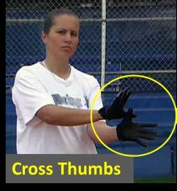 The tosser, with the balls, will start about 8 to 10 feet from the bunter. The bunter will have her bat and her glove. How the Drill Works: The first step is crossed thumbs.