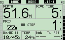 On the main display screen the gas content field shows the O2/He format for each gas when Tec SW is enabled. Short press more, the profile display is shown.