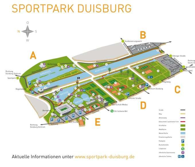 13. Arrival and parking By car: There are parking spaces available with in the Sportspark Wedau our staff will instruct you where to park. Fees apply.