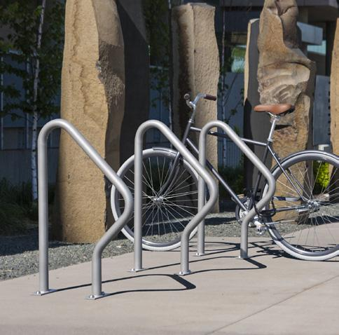 unenclosed bike racks with an intended