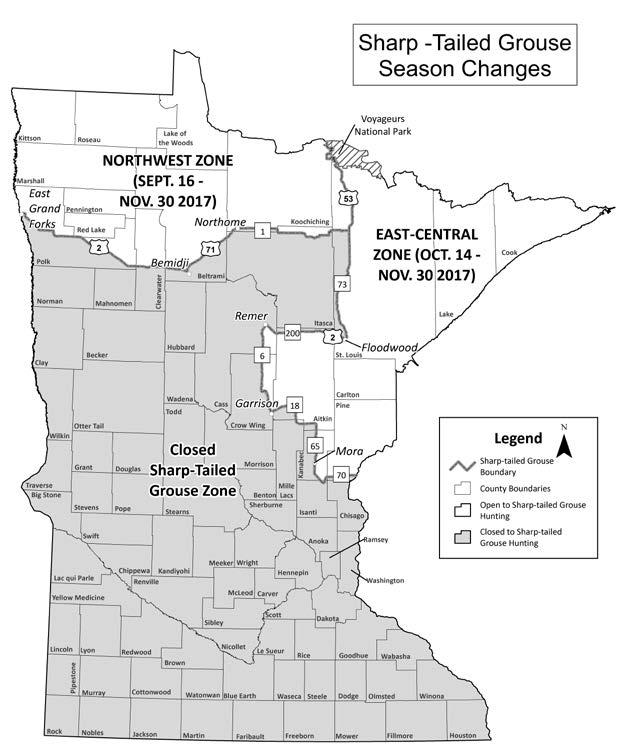 NEW Sharp-tailed grouse area A newly-created sharp-tailed grouse hunting zone will limit early season hunting in the east-central part of the state, which may benefit the overall population.