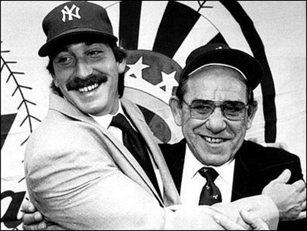 Yogi Berra poses with his son Dale at Yankee Stadium in 1984, after the latter was traded to the Yankees from the Pittsburgh Pirates,