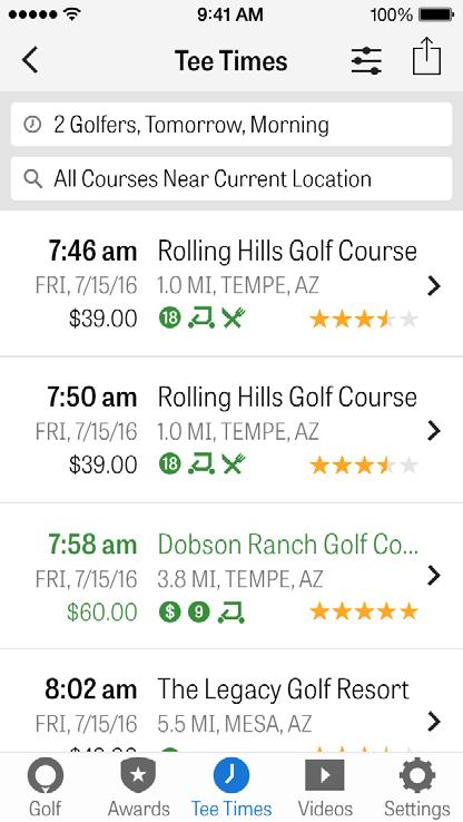 GOLFNOW TEE TIMES You can search and book GolfNow tee times with exclusive discounts for Golfshot members.