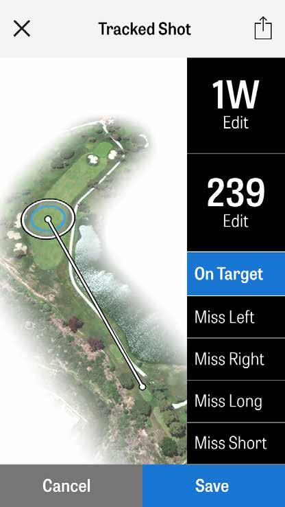 SHOT TRACKING Once you ve located your ball, tap At my ball and you will be taken to the main Tracking screen.