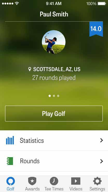 HOME SCREEN Play Golf: Tap Play Golf to begin a round with Golfshot. For Pro members, you can select a facility and begin your round.