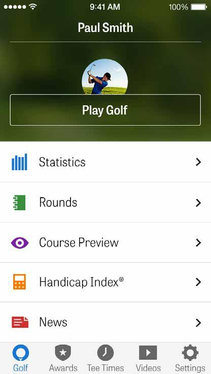 HOME SCREEN Awards: Earn and share awards showing improvement of your game. Tee Times: Search, book, and enjoy up to 80% off GolfNow tee times.
