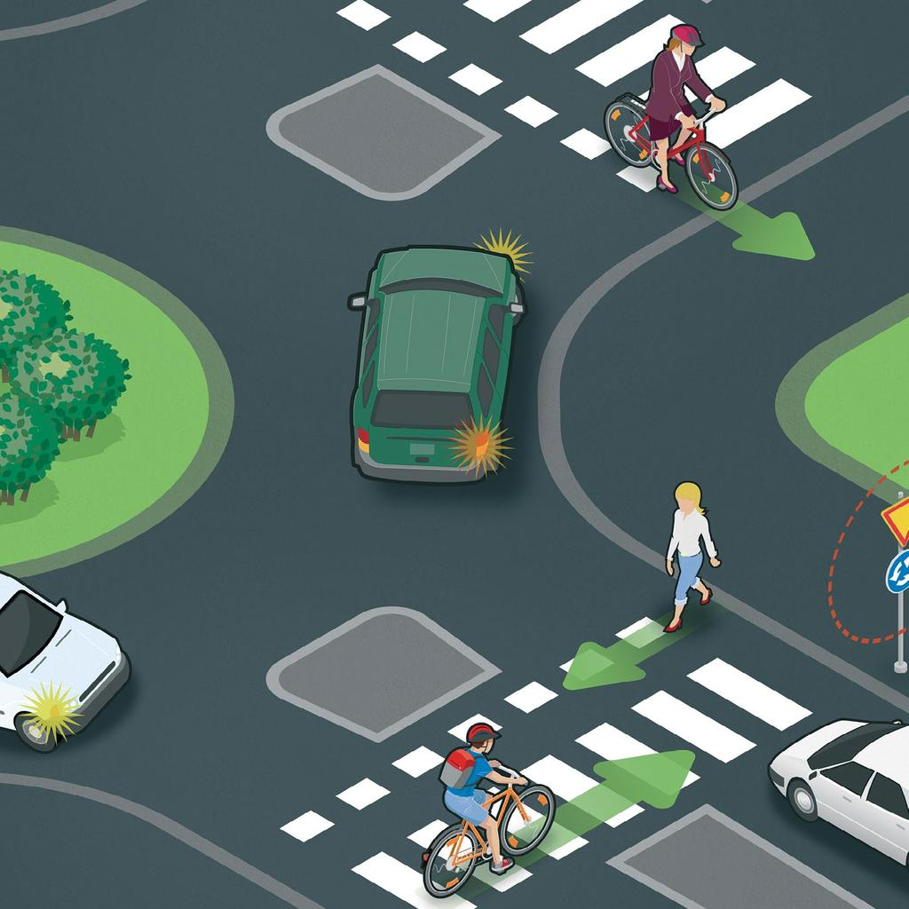 Anticipation when cycling and walking Everyone can influence their own traffic safety and that of other people. Take other road users into consideration and ensure that they notice you.