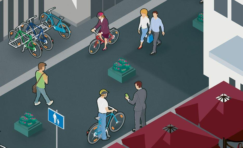 Everyone who is operating a vehicle, including cyclists, must give way to pedestrians.