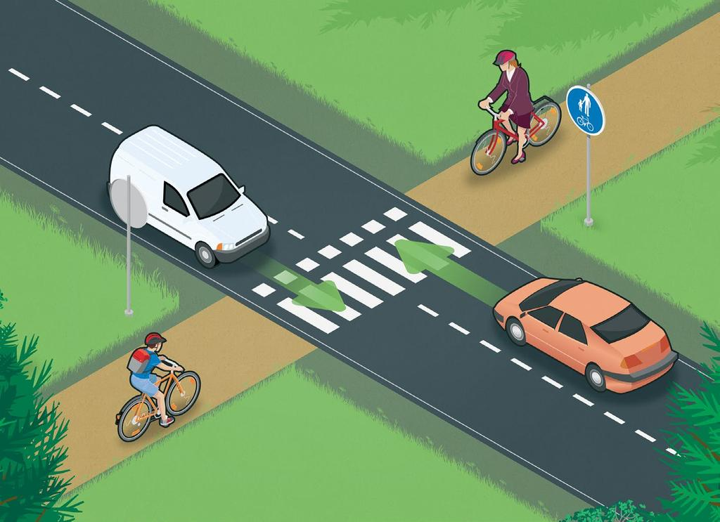 By bicycle A cyclist on a bicycle path may ride the bike across the road using a toucan crossing, but must give