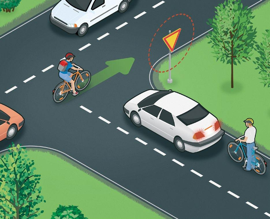 Learn the right of way rules Turning vehicles give way The basic rule for junctions is that cyclists and motorists must give way to vehicles approaching from the right.