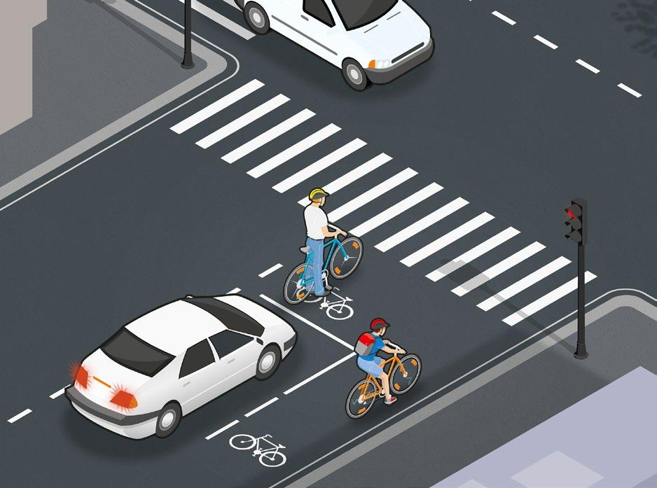 When the road is clear, ride or walk your bicycle across the road and then continue on the right of the road.