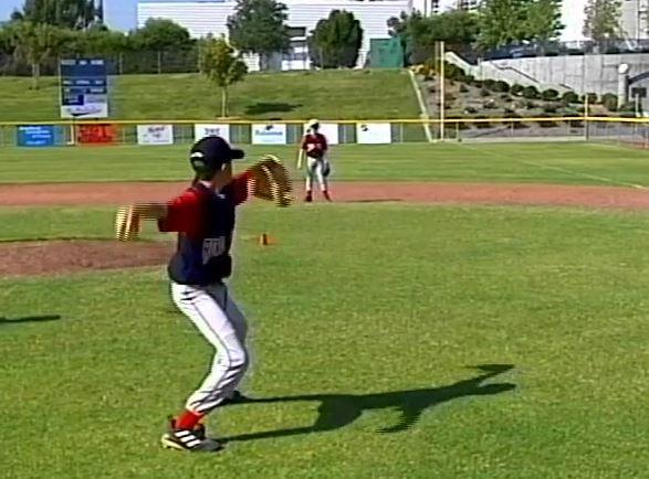 One Hop Throwing 11 To improve arm separation, getting the throwing arm up and releasing the ball on a downhill plane. Place two players approximately 40-50 feet apart.