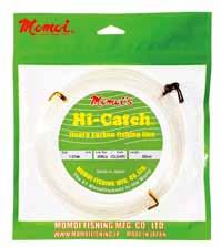 Hi-Catch Fluorocarbon Material: Fluorocarbon (High Strength MIJ Fluorocarbon) Processing: UV Block & High Abrasion Resistance Special Processing Make-up: 20mtr, 50mtr coil High Strength MIJ