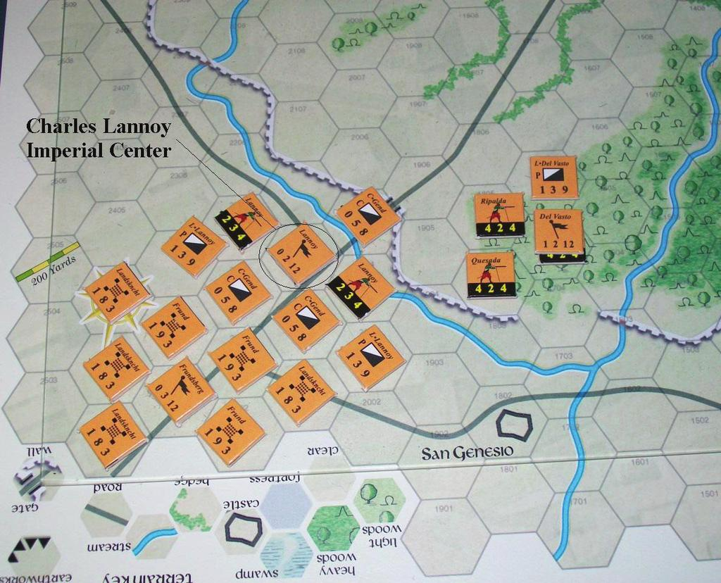Suffolk's loose shotte holds the left flank. Meanwhile de la Pole swings his formation around to face Lannoy's advancing troops. Flourance has the southern gate defended.