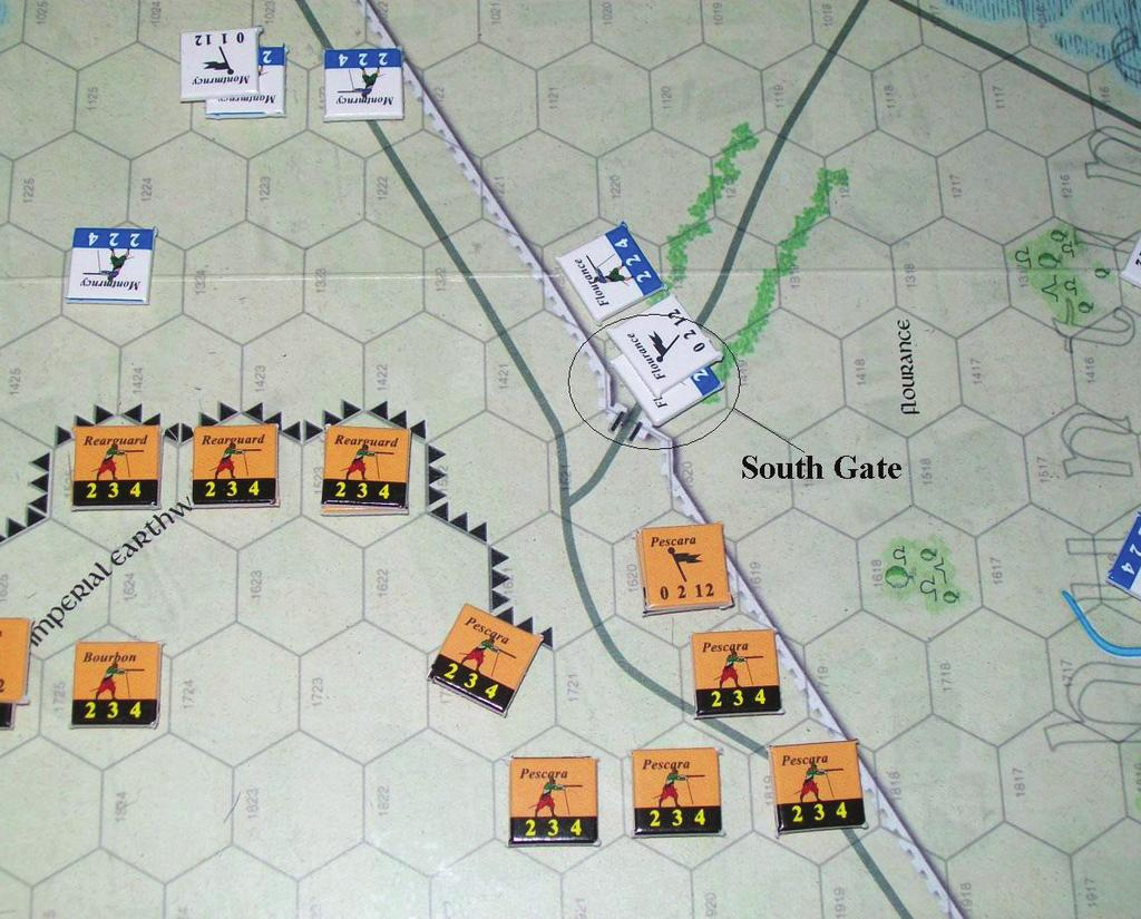 disordered. It is hit again and forced to retreat. Lannoy's cavalry presses on against de la Pole's retreating forces. There is more action at the southern gate of the hunting preserve.
