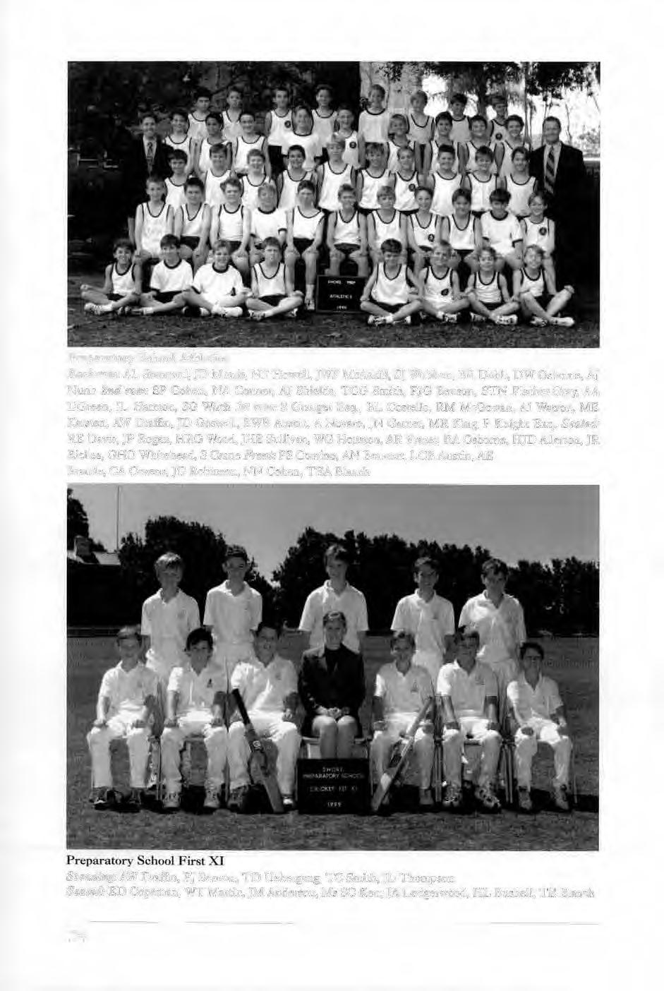 Preparato1-y School Athletics Back row: AL Stannard, JD Morris, NF Howe ll, JWF McAskH I.