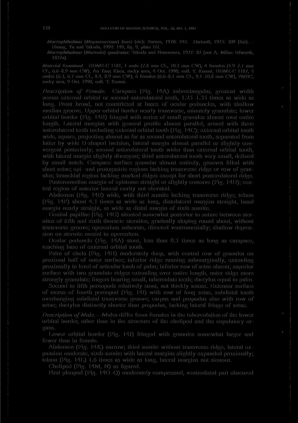 138 BULLETIN OF MARINE SCIENCE, VOL. 56, NO. 1, 1995 Macrophthalmus (Mopsocarcinus) bosci (sic): Barnes, 1970: 242. Hartnoll, 1975: 309 (list). Huang, Yu and Takeda, 1992: 149, fig. 9, plate 1H.