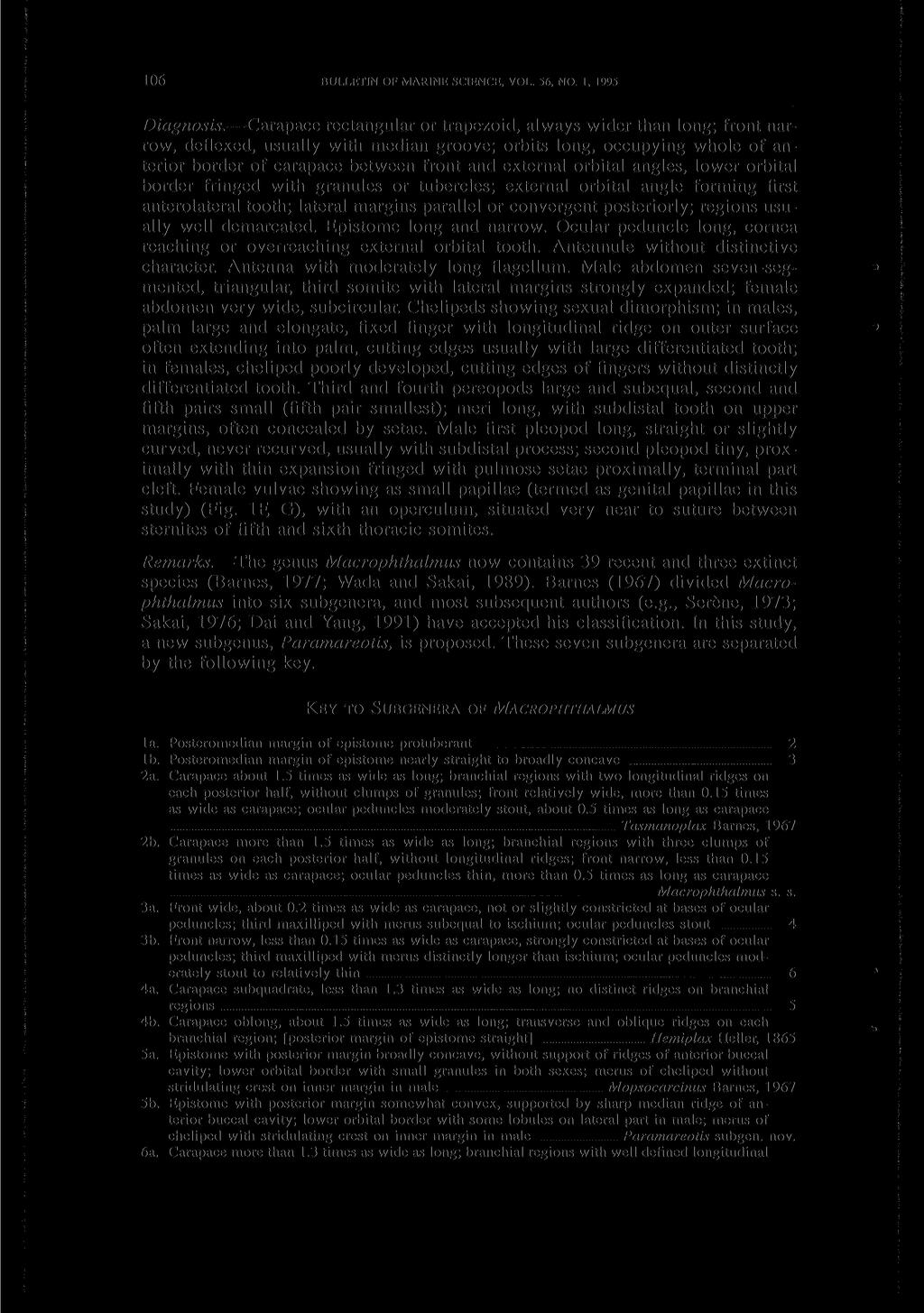 106 BULLETIN OF MARINE SCIENCE, VOL. 56, NO. 1, 1995 Diagnosis.