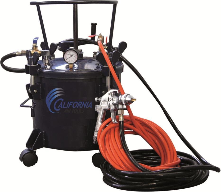California Air Tools 5 Gallon Pressure Pot with HVLP Spray Gun and Hose Model No. 365 Technical Data Type of feed.pressure Maximum pressure in the tank... 0,413Mpa (60PSI) Working pressure in the tank.